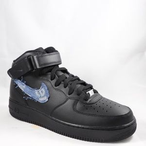 Air Force 1 Mid Black LV x Supreme Denim Custom